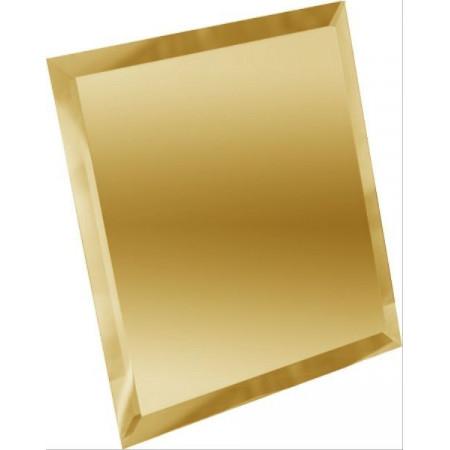 Квадратная зеркальная золотая плитка с фацетом 10мм КЗЗ1-04